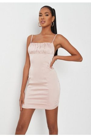 Missguided Champagne Satin Ruched Front Cross Back Mini Dress