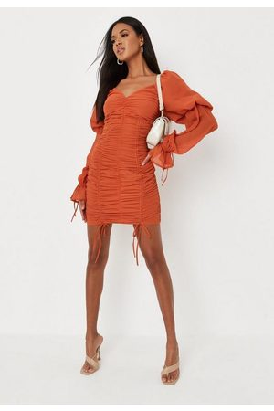 Missguided Chiffon Overlay Puff Sleeve Mini Dress