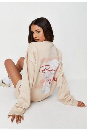 Missguided Camel Buenna Notte Sweatshirt And Shorts Loungewear Set