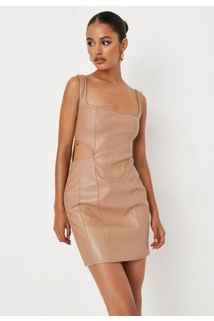 Missguided Camel Faux Leather Cut Out Mini Dress