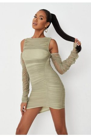 Missguided Khaki Mesh Cold Shoulder All Over Ruched Mini Dress