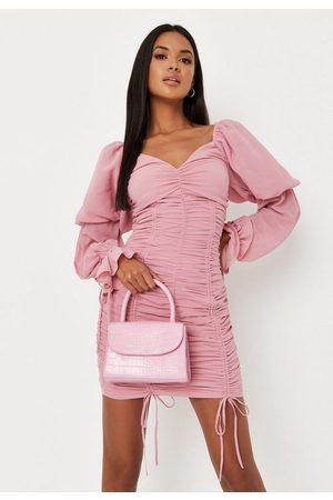 Missguided Blush Chiffon Overlay Puff Sleeve Mini Dress