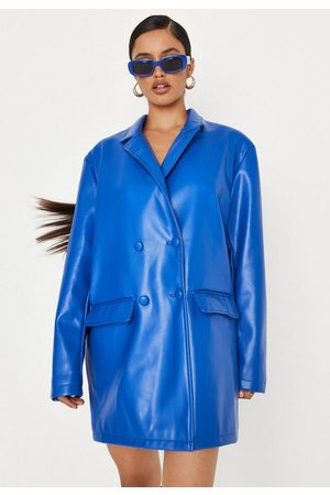 Missguided Faux Leather Double Breasted Oversized Blazer Dress
