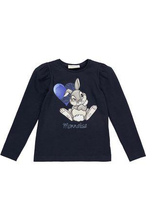 MONNALISA Kids Long Sleeve - Long-sleeved bunny printed T-shirt