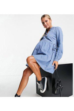 Mama Licious Women Casual Dresses - Mamalicious denim smock dress in blue-Blues