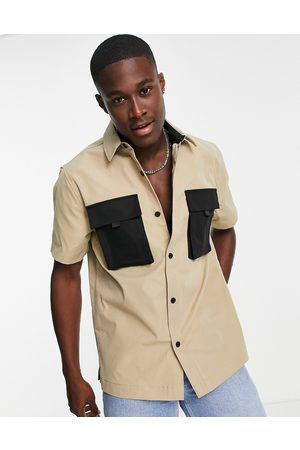 Topman Men Short sleeves - Short sleeve shirt in stone with contrast pockets-Neutral