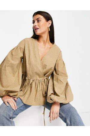 ASOS Women Wrap tops - Oversized wrap smock top with blouson sleeve in camel-Neutral