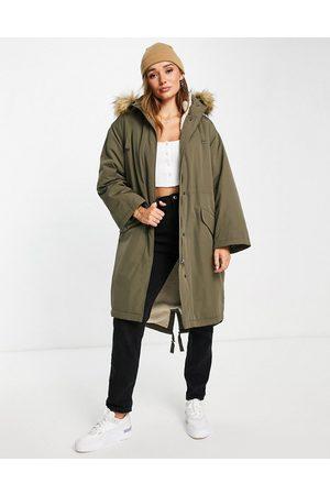 ASOS Oversized sherpa lined parka coat in dark khaki