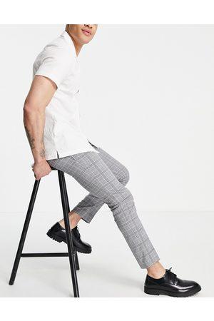 Topman Men Chinos - Skinny windowpain check pants in -Grey