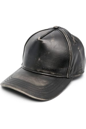 Dsquared2 Men Caps - Logo-print leather baseball cap