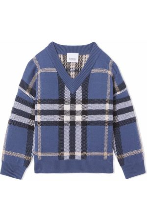 Burberry Sweaters - Check-pattern V-neck jumper