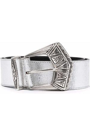 Etro Men Belts - Engraved-buckle leather belt - Grey