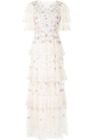 Needle & Thread Lace-panel short-sleeve dress - Neutrals