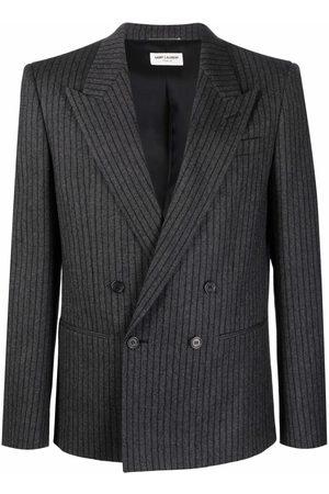 Saint Laurent Men Blazers - Striped double-breasted blazer - Grey