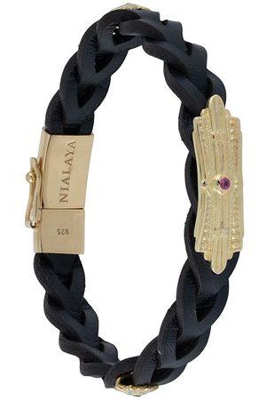 Nialaya Men Bracelets - Braided leather bracelet