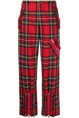 Molly Goddard Women Straight Leg Pants - Tartan wool trousers