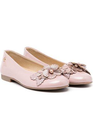 ANDANINES Girls Ballerinas - Floral aplliqué ballerinas