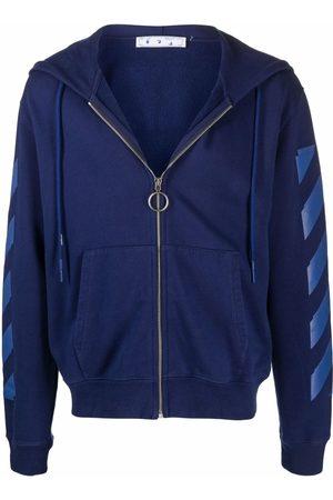 OFF-WHITE Diagonal-stripe print zip-fastening hoodie