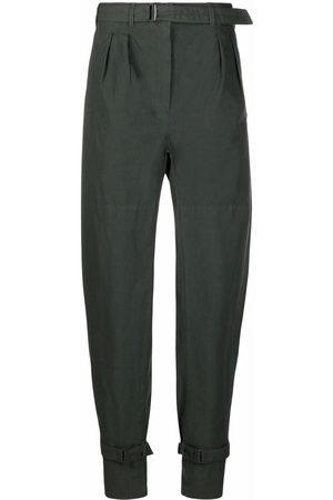 LEMAIRE Women Straight Leg Pants - Pleat-detail ankle-strap trousers