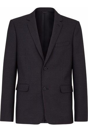 Fendi Men Blazers - FF-motif single-breasted blazer - Grey