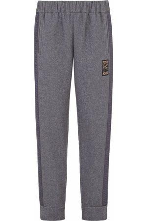 Fendi Men Sweatpants - Logo-patch track pants - Grey