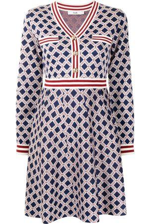 B+AB Geometric intarsia-knit skater dress
