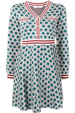 B+AB Women Knitted Dresses - Geometric intarsia-knit skater dress