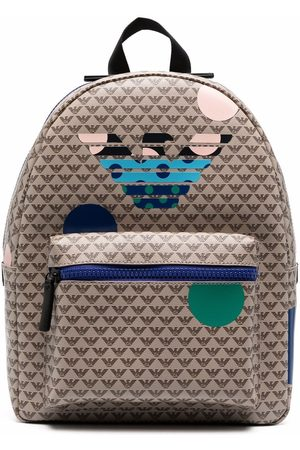 Emporio Armani Boys Rucksacks - Monogram print backpack