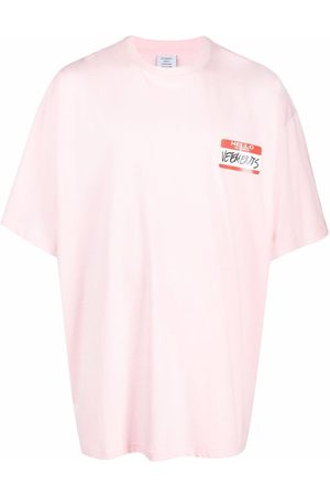 Vetements Name Tag-print cotton T-shirt