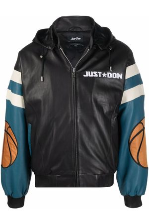 JUST DON Chicago leather hooded bomber jacket