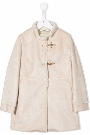 FAY KIDS Faux-shearling trimmed coat - Neutrals