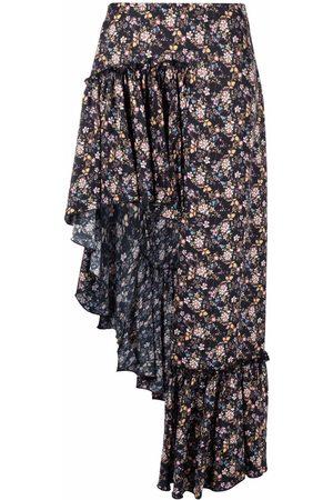WANDERING Women Printed Skirts - Floral-print asymmetric midi skirt