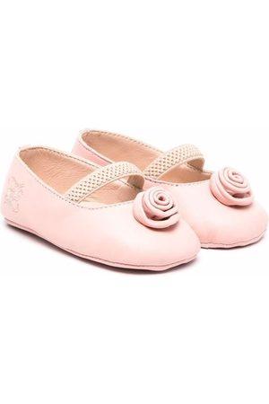 Fendi Girls Ballerinas - Floral-appliqué leather ballerinas