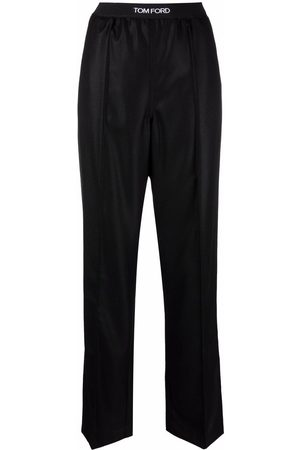 Tom Ford Women Straight Leg Pants - Logo-waistband straight trousers