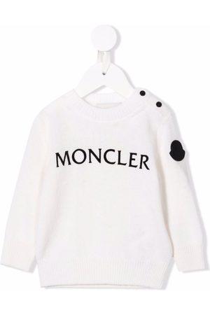 Moncler Hoodies - Logo-print virgin-wool jumper - Neutrals