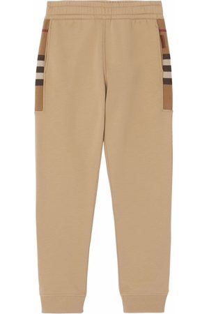 Burberry Men Sweatpants - Check-pattern track pants - Neutrals