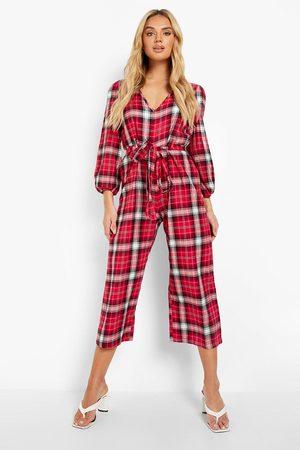 Boohoo Womens Flannel Puff Sleeve Culotte Jumpsuit - - 4