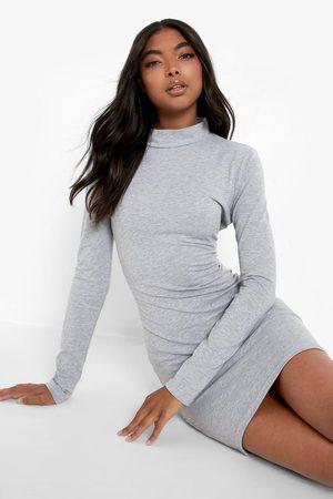 Boohoo Womens Tall Basic Long Sleeve High Neck Mini Dress - - 2