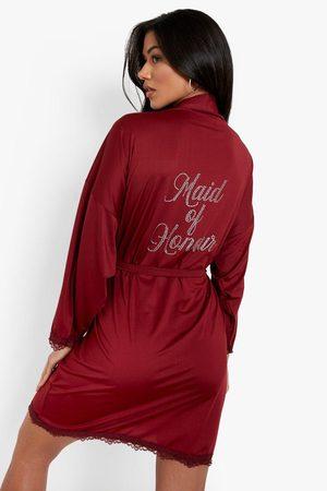 Boohoo Womens Maid Of Honour Diamante Lace Detail Robe - - 2