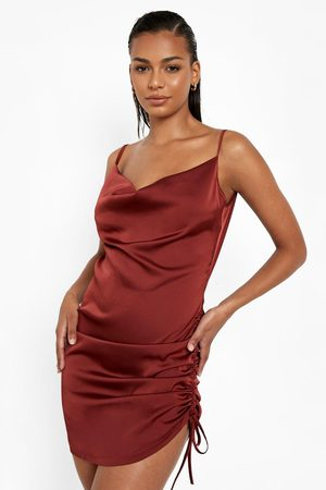 Boohoo Women Bodycon Dresses - Womens Satin Cowl Neck Side Ruched Bodycon Dress - - 4