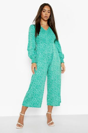 Boohoo Womens Ditsy Floral Shirred Smock Jumpsuit - - 4