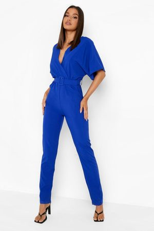 Boohoo Womens Belted Straight Leg Wrap Jumpsuit - - 4