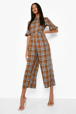 Boohoo Womens Flannel Frill Sleeve Smock Jumpsuit - - 4