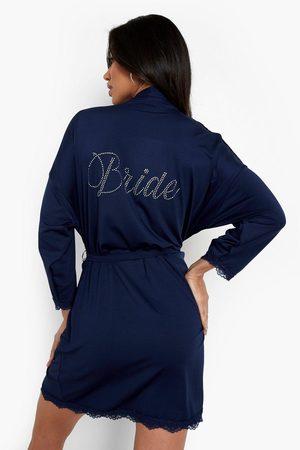 Boohoo Womens Bride Diamante Lace Detail Robe - - 2