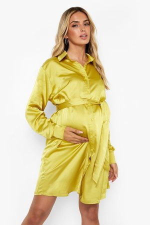 Boohoo Womens Maternity Tie Waist Satin Shirt Dress - - 4
