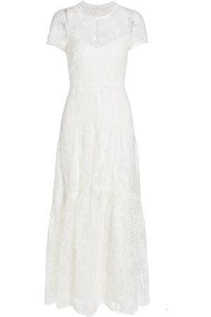 Ml Monique Lhuillier Lace Illusion Neck Tiered Dress