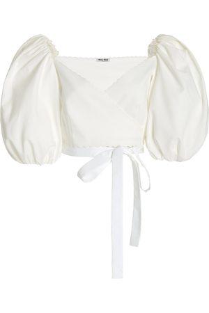 Miu Miu Women's Puff-Sleeve Cotton Pique Cropped Wrap Top - - Moda Operandi