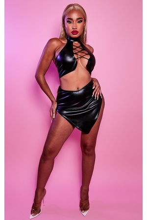 PRETTYLITTLETHING Shape PU Curved Hem Bodycon Skirt