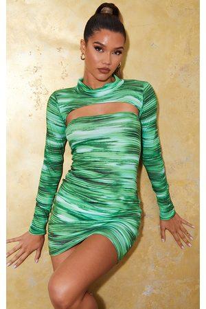 PRETTYLITTLETHING Bright Stripe Bandeau Bodycon Dress