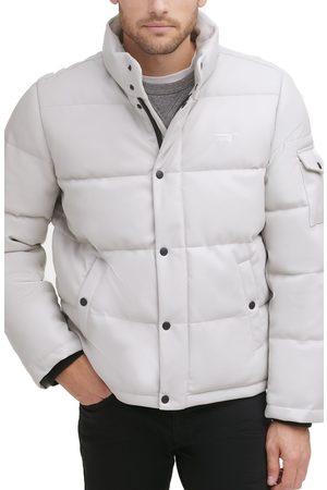 Levi's Men Leather Jackets - Men's Water Resistant Faux Leather Puffer Jacket